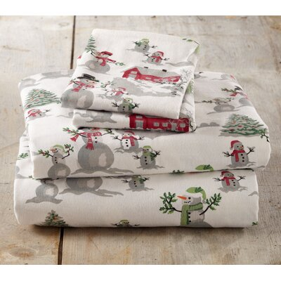Colleton Winter Wonderland Super Soft Printed Flannel Cotton Sheet Set Size: Queen