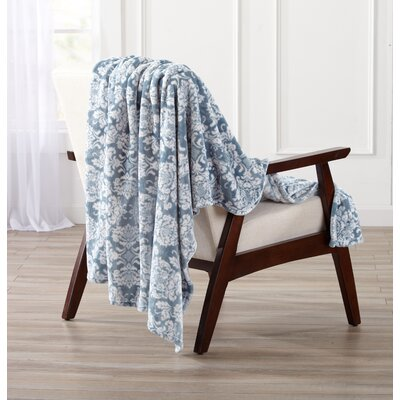 Isabel Ultra Velvet Plush Oversize Throw Color: Smoke Blue