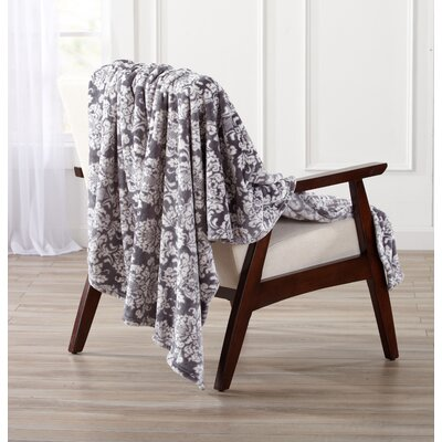 Isabel Ultra Velvet Plush Oversize Throw Color: Steel Gray