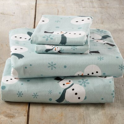 Ferryhill Blue Snowman Super Soft Printed Flannel Cotton Sheet Set Size: Queen