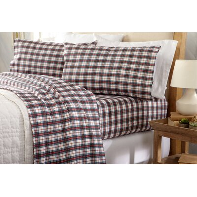 Coffey Plaid Super Soft Printed Flannel Cotton Sheet Set Size: Queen, Color: Green/Red