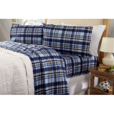 Coffey Plaid Super Soft Printed Flannel Cotton Sheet Set Size: Queen, Color: Blue/Brown