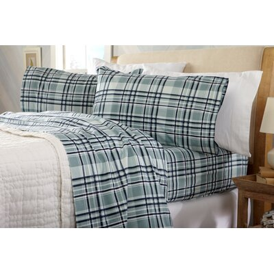 Coffey Plaid Super Soft Printed Flannel Cotton Sheet Set Size: King, Color: Navy/Aqua