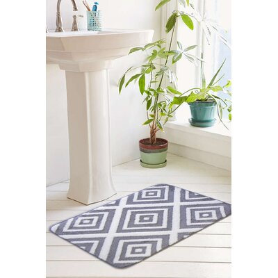 Farrah Plush Memory Foam Anti-Fatigue Jacquard Bath Rug Size: 17 W x 24 L, Color: Paloma Gray