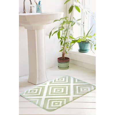 Farrah Plush Memory Foam Anti-Fatigue Jacquard Bath Rug Size: 17 W x 24 L, Color: Seacrest