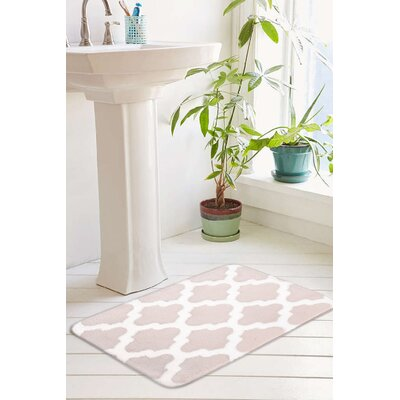 Peyton Plush Memory Foam Anti-Fatigue Jacquard Bath Rug Size: 17 W x 24 L, Color: Blush Pink