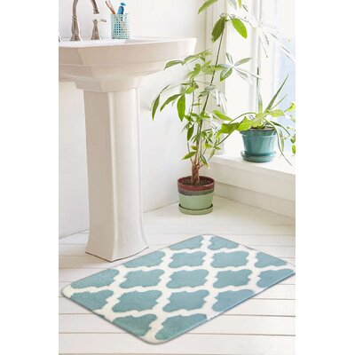 Peyton Plush Memory Foam Anti-Fatigue Jacquard Bath Rug Size: 20 W x 32 L, Color: Pastel Turquoise