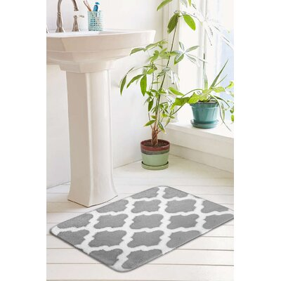 Peyton Plush Memory Foam Anti-Fatigue Jacquard Bath Rug Size: 17 W x 24 L, Color: Vapor Gray