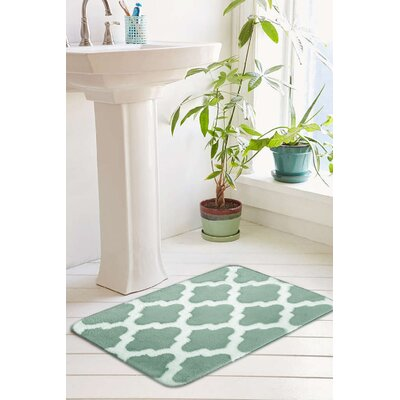 Peyton Plush Memory Foam Anti-Fatigue Jacquard Bath Rug Size: 20 W x 32 L, Color: Ocean Wave