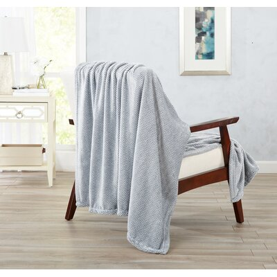 Landon Courte Ultra Velvet Plush Herringbone Jacquard Oversize Throw Color: Gray