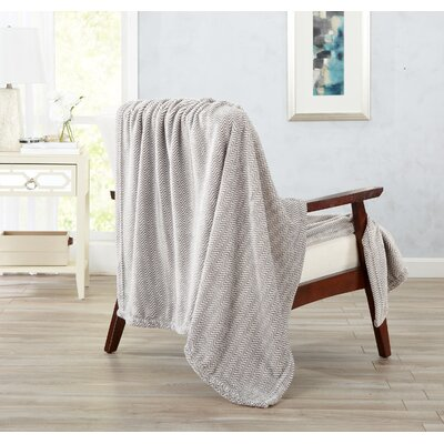 Landon Courte Ultra Velvet Plush Herringbone Jacquard Oversize Throw Color: Taupe