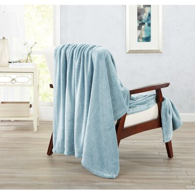 Landon Courte Ultra Velvet Plush Herringbone Jacquard Oversize Throw Color: Blue