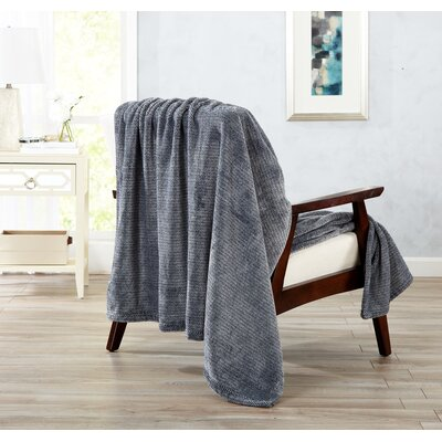 Astor Ultra Velvet Plush Heathered Dot Jacquard Oversize Throw Color: Gray