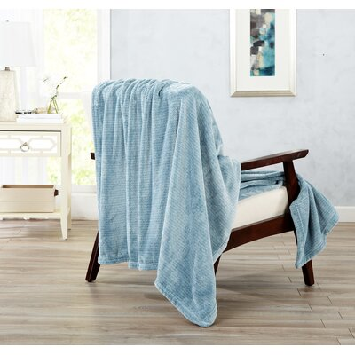 Astor Ultra Velvet Plush Heathered Dot Jacquard Oversize Throw Color: Blue