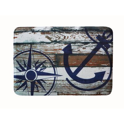 Eliza Plush Memory Foam Anti-Fatigue Coastal Beach Theme Bath Rug Color: Anchor, Size: 20 W x 32 L