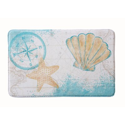 Eliza Plush Memory Foam Anti-Fatigue Coastal Beach Theme Bath Rug Color: Sea Shell, Size: 17 W x 24 L