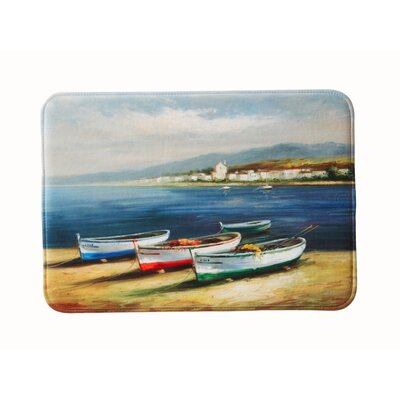 Eliza Plush Memory Foam Anti-Fatigue Coastal Beach Theme Bath Rug Color: Boats, Size: 17 W x 24 L