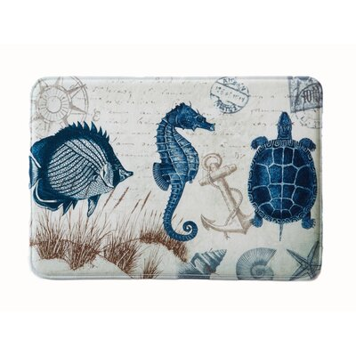 Eliza Plush Memory Foam Anti-Fatigue Coastal Beach Theme Bath Rug Size: 20 W x 32 L, Color: Sea Life