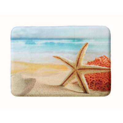 Eliza Plush Memory Foam Anti-Fatigue Coastal Beach Theme Bath Rug Color: Star Fish, Size: 17 W x 24 L