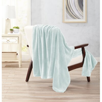 Clara Ultra Velvet Plush Oversize Throw Color: Morning Mist