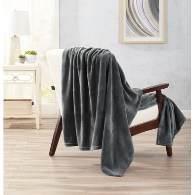 Clara Ultra Velvet Plush Oversize Throw Color: Dark Gray