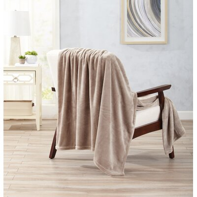 Clara Ultra Velvet Plush Oversize Throw Color: Taupe