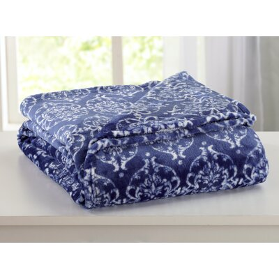 Kingston Ultra Velvet Plush Super Soft Printed Bed Blanket Size: King, Color: Blue Indigo