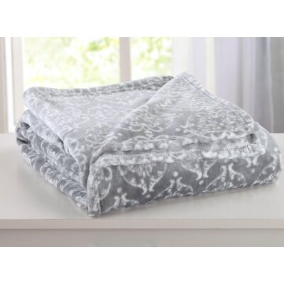 Kingston Ultra Velvet Plush Super Soft Printed Bed Blanket Size: King, Color: Silver