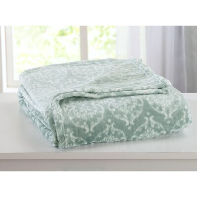 Kingston Ultra Velvet Plush Super Soft Printed Bed Blanket Size: King, Color: Blue Surf