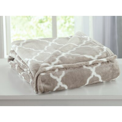 Ultra Velvet Plush Super Soft Printed Bed Blanket with Lattice Scroll Size: Twin, Color: Taupe