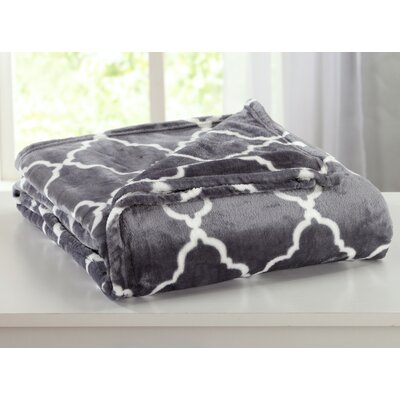 Ultra Velvet Plush Super Soft Printed Bed Blanket with Lattice Scroll Size: King, Color: Steel Gray