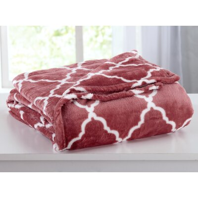 Ultra Velvet Plush Super Soft Printed Bed Blanket with Lattice Scroll Size: King, Color: Marsala Red