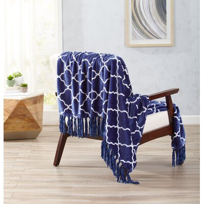 Great Bay Home Ultra Velvet Plush Throw Blanket with Lattice Scroll Design and Decorative Fringe Color: Indigo Blue