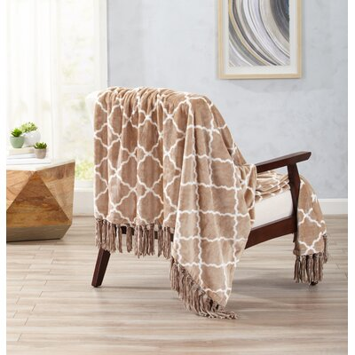 Great Bay Home Ultra Velvet Plush Throw Blanket with Lattice Scroll Design and Decorative Fringe Color: Taupe
