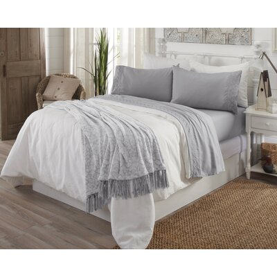 Wexford Ultra Soft Double Brushed Microfiber Sheet Set with Embroidered Geometric Pattern Size: Queen, Color: Light Gray