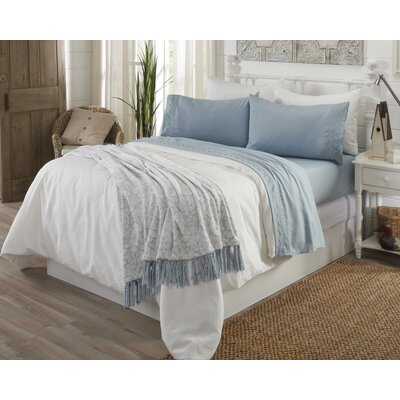 Wexford Ultra Soft Double Brushed Microfiber Sheet Set with Embroidered Geometric Pattern Size: Full, Color: Ether Blue