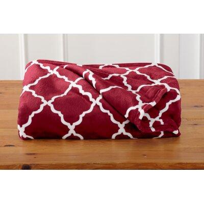 Great Bay Home Ultra Velvet Plush Oversize Throw Blanket with Lattice Scroll Design Color: Tibetan Red