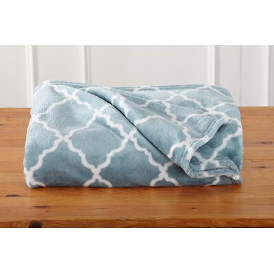 Great Bay Home Ultra Velvet Plush Oversize Throw Blanket with Lattice Scroll Design Color: Fountain Blue