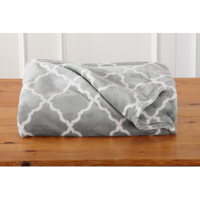Great Bay Home Ultra Velvet Plush Oversize Throw Blanket with Lattice Scroll Design Color: Pewter