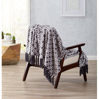 Liliana Ultra Velvet Plush Throw Blanket with Decorative Fringe Color: Steel Gray