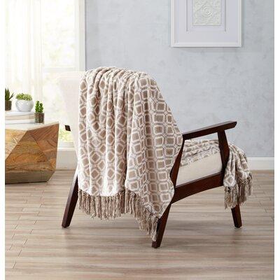 Liliana Ultra Velvet Plush Throw Blanket with Decorative Fringe Color: Taupe