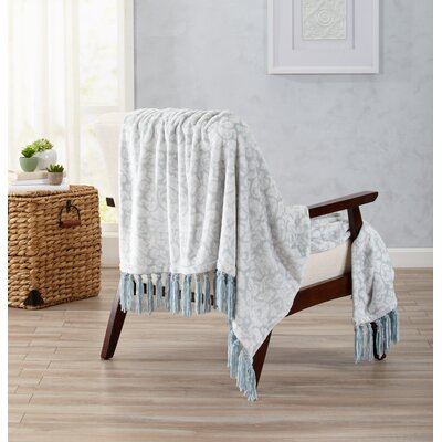 Katrina Ultra Velvet Plush Throw with Decorative Fringe Color: Cloud Blue