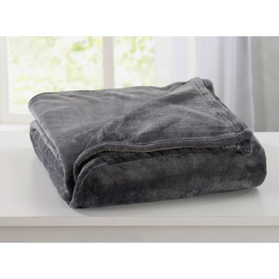 Melinda Plush Super Soft Ultra Velvet Blanket Color: Steel Gray, Size: Twin