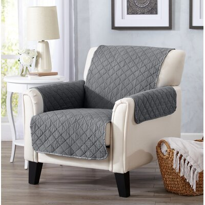 Great Bay Home Deluxe Stonewashed Reversible Furniture Protector Polyester Armchair Slipcover Upholstery: Storm Gray