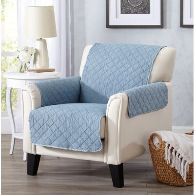 Great Bay Home Box Cushion Armchair Slipcover Upholstery: Blue Dust