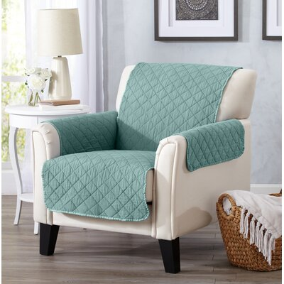 Great Bay Home Deluxe Stonewashed Reversible 100% Polyester Loveseat Slipcover Upholstery: Aqua