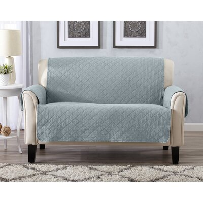 Great Bay Home Deluxe Stonewashed Reversible 100% Polyester Loveseat Slipcover Upholstery: Mirage Gray