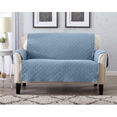 Great Bay Home Deluxe Stonewashed Reversible 100% Polyester Loveseat Slipcover Upholstery: Delphium Blue