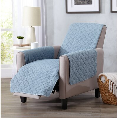 Great Bay Home Deluxe Stonewashed Reversible Recliner Slipcover Upholstery: Delphium Blue