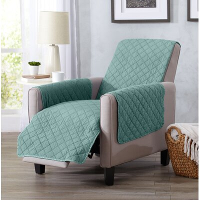 Great Bay Home Deluxe Stonewashed Reversible Recliner Slipcover Upholstery: Aqua